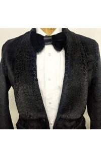 silk croc blazer
